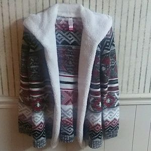 No Boundaries Hooded Knit Sweater Size M